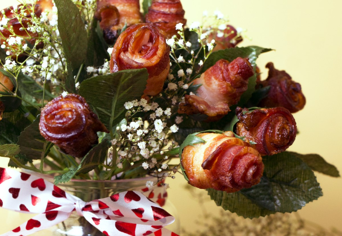 Bouquet de rose bacon dans vase